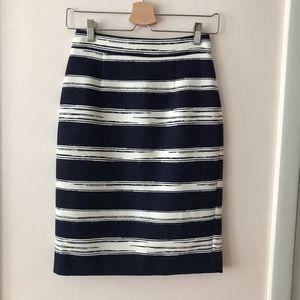 Zara Blue White Striped Pencil Skirt